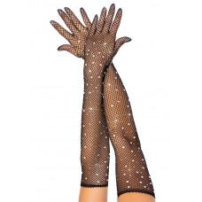 Rhinestone Fishnet Long Gloves
