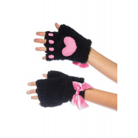 Plush Kitty Paw Fingerless Gloves