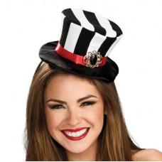 Black and White Stripe Mini Top Hat