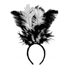 Black & White Feather Headband