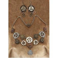 Multi Gear Necklace & Earring Set