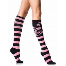 Striped Skull Knee Socks