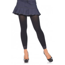 Opaque Footless Tights w/Lace Trim