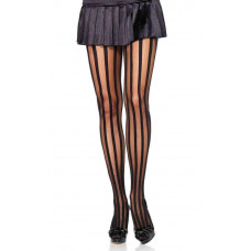 Sheer Tights with Opaque Vertical Stripes