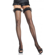 Fishnet Thigh Highs w/Lace Ruffle Top