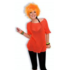 80's Neon Orange Mesh Top